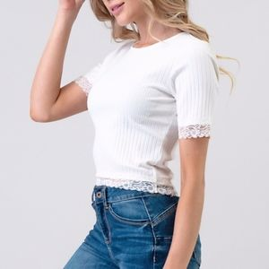 Tops - White Fitted Short Sleeve Lace Top NWT